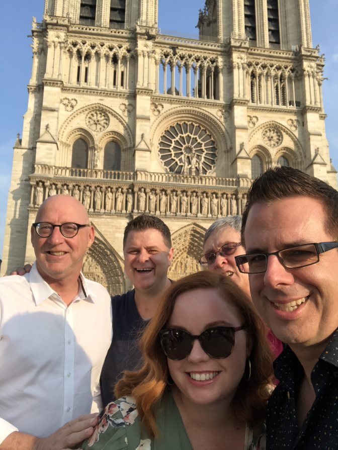Notre Dame in the background with Steve, Travis, Laura, me and Mark.  Jodi had been evacuated due to an unattended bag and we were on our way to find her.